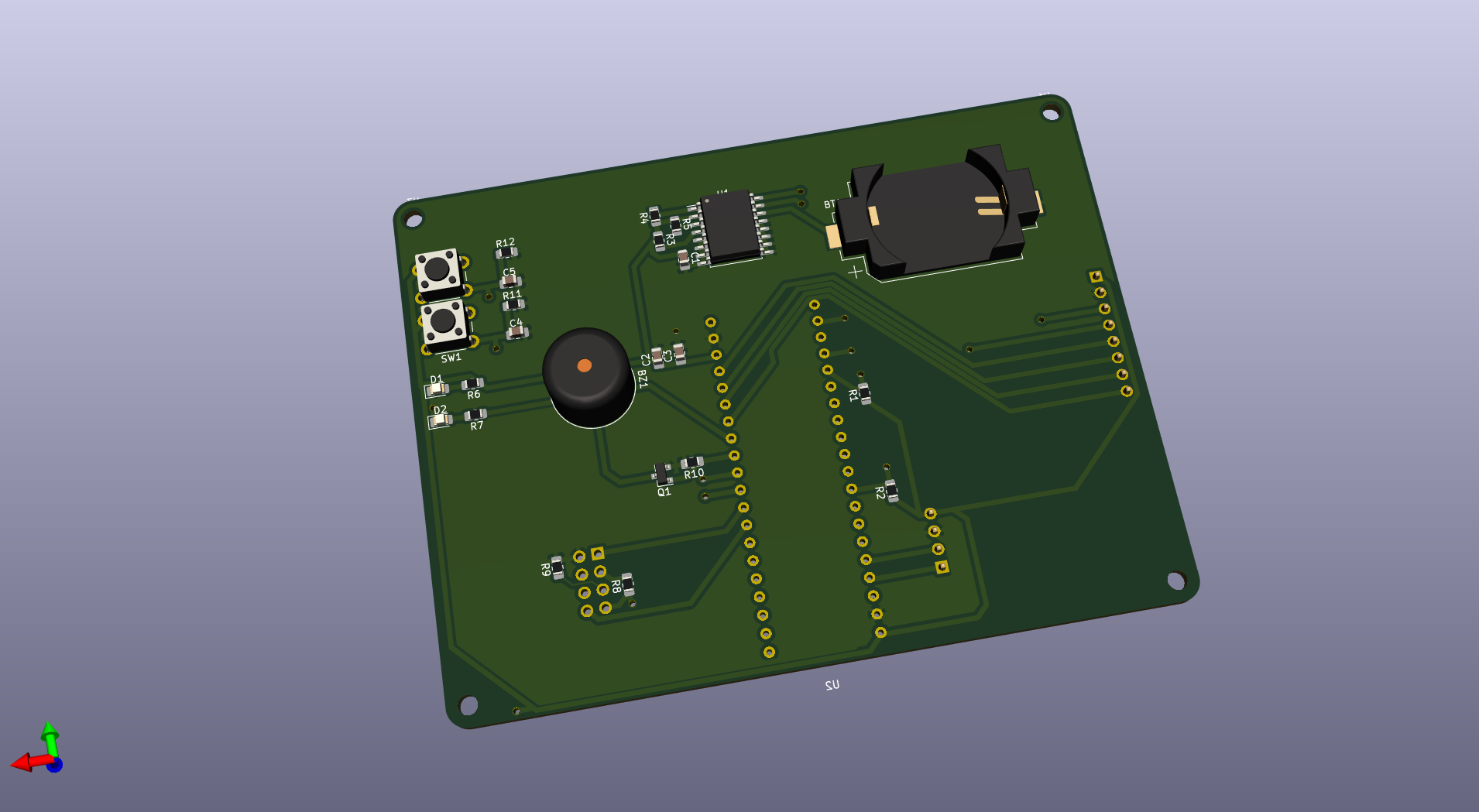 A rendered circuit board